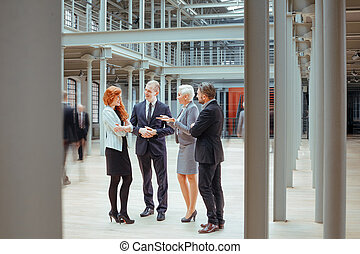 People working together in corporation