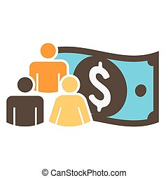 People Working Together to Fund Different Online Ideas with Money Icon Set