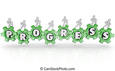 People Working Together Turning Gears of Progress