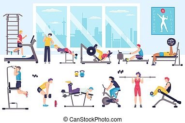 People workout in gym vector illustration, cartoon flat man woman characters doing sport exercises, fitness activity isolated on white