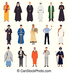 People World Religions Set - Set of people in traditional...