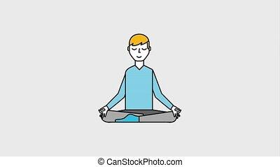 people yoga concept - man sitting lotus pose yoga meditation