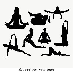 People yoga silhoutte - People yoga and acrobat sport...
