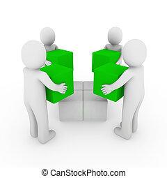 peoplecube, equipo, verde, caja, 3d, blanco