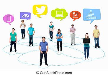 people's, сеть, социальное, media.