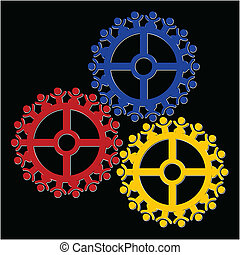 Peoples gears turn in unison, symbolizing teamwork and...