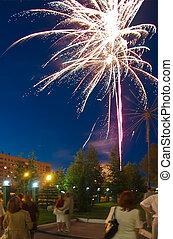 Long exposure shot of wedding firework. Peoples blurred