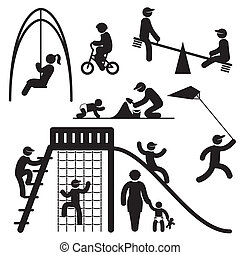 peoples playground - set black and white vector icons of...