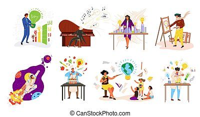 Peoples professions ideas, work occupations job set with teacher, musician, cook, professional businessman isolated vector illustration.