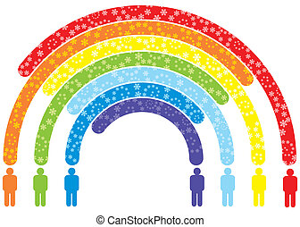 peoples rainbow - silhouettes of abstract peoples and...
