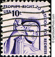 People?s right to petition for redress - USA - CIRCA 1975: A...