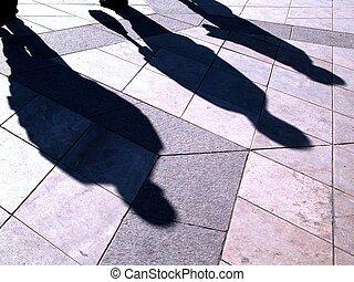 people's, shadows
