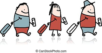Peoples with suitcase and ticket, cartoon
