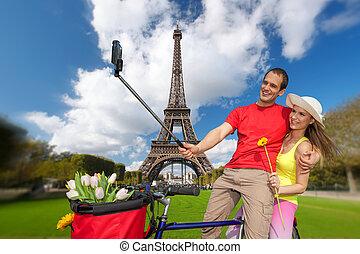 peopletaking, selfie, eiffel, parijs, frankrijk, toren