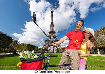 peopletaking, selfie, eiffel, paris, frankrike, torn