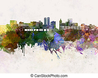 Peoria skyline in watercolor