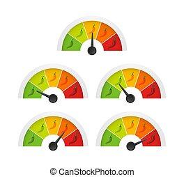 pepe, caldo, forza, mezzo, positions., scala, rosso, inferno, indicatore, illustration., vettore, mite