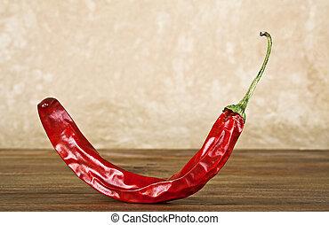 pepe, caldo, legno, fondo, peperoncino, rosso