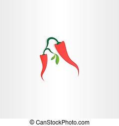 pepe, caldo, vettore, peperoncino, rosso, icona
