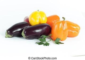 pepe, campana, prezzemolo, melanzane, backgroun, sprigs, bianco