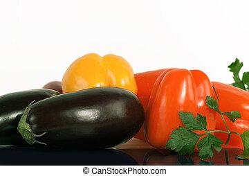 pepe, campana, prezzemolo, melanzane, sprigs, fondo., bianco
