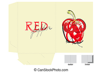 pepe, cartella, sagoma, rosso