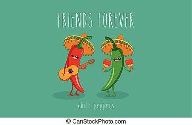 Pepe messicano carattere cartone animato chitarra chili verde