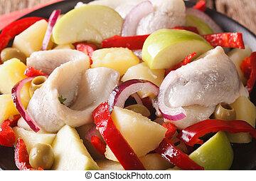 pepe, cipolla, insalata, patate, mela, macro., ogive, orizzontale, aringa