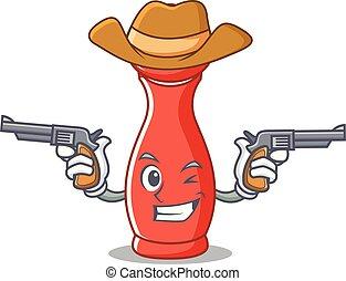 pepe, cowboy, carattere, mulino, cartone animato