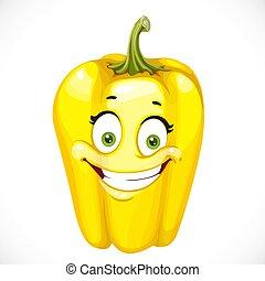 pepe, dolce, isolato, giallo, cartone animato, fondo, bianco, sorridente