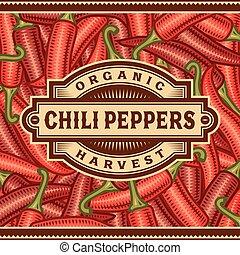 pepe, etichetta, raccogliere, peperoncino, retro