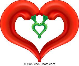pepe, heart., amore, simbolo., isolato, fondo., passione, vettore, eps10, peperoncino, bianco