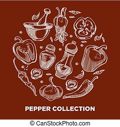 pepe, ingredienti, verdura, cottura spezia, condimento, o,...