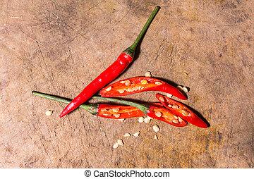 pepe, natura, caldo, fondo, peperoncino, uccello, rosso