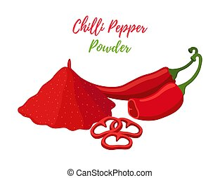 pepe peperoncini rossi, fette, caldo, vettore, mucchio, polvere, rosso
