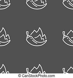 pepe peperoncini rossi, icona, segno., seamless, modello, su, uno, grigio, fondo., vettore