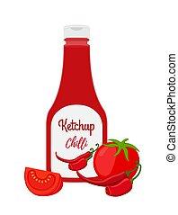 pepe peperoncini rossi, pomodori, affettato, caldo, vettore, bottiglia, ketchup