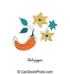 pepe peperoncini rossi, stile, cartone animato