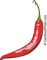 pepe peperoncini rossi, vettore, rosso, illustrazione