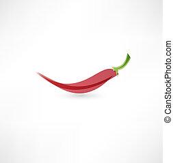 pepe, peperoncino, caldo rosso, icona