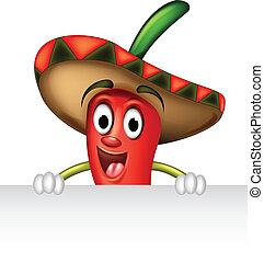 pepe peperoncino rosso, con, segno bianco