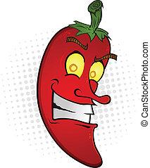 pepe, peperoncino, sorridente, cartone animato