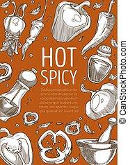 pepe, piselli, paprica, caldo, polvere, peperoncino, spezia