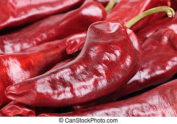 pepe, rosso caldo, fondo, secco