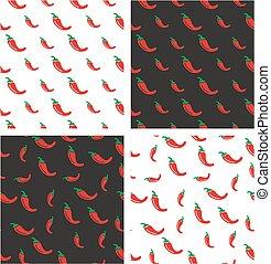 pepe, set, &, colorare, grande, casuale, seamless, modello, piccolo, peperoncino, allineato