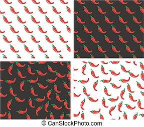 pepe, set, &, colorare, modello, casuale, seamless, peperoncino, allineato