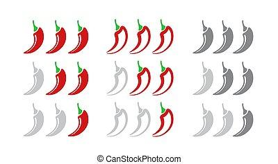 pepe, set, posizioni, mite, isolato, bianco, fondo., caldo, mezzo, indicatore, scale., forza, rosso, icona