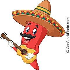 pepe, sombrero, chitarra esegue, peperoncino, cartone...