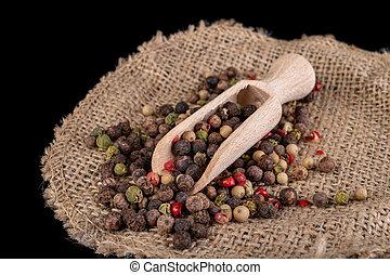 pepe, usato, colorito, cooking., material., saporito, fresco, casa, spezie, iuta