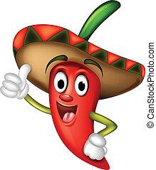 peper, chili, op, spotprent, duimen